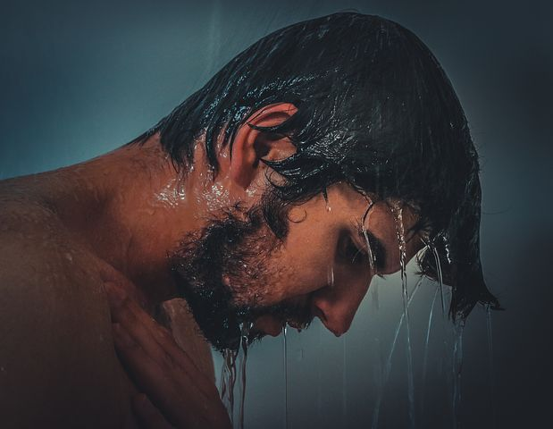 man in a shower