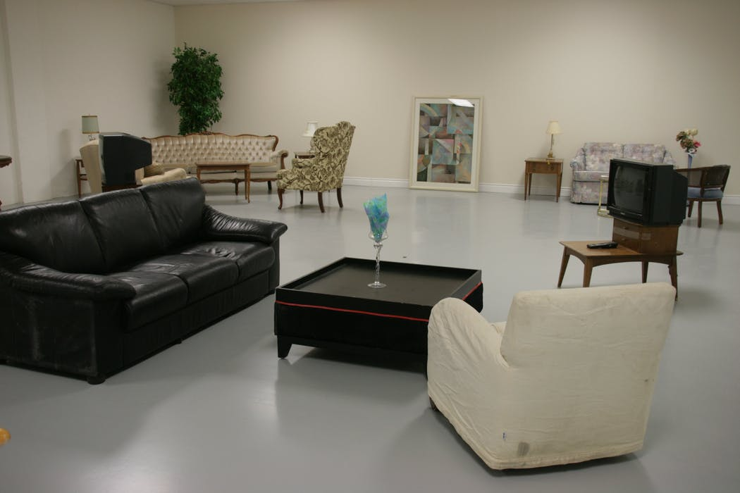 displayed leather sofas in a furniture shop