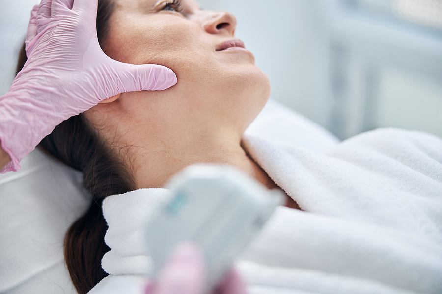 Calm patient being treated by a dermatologist in a skin clinic in Melbourne