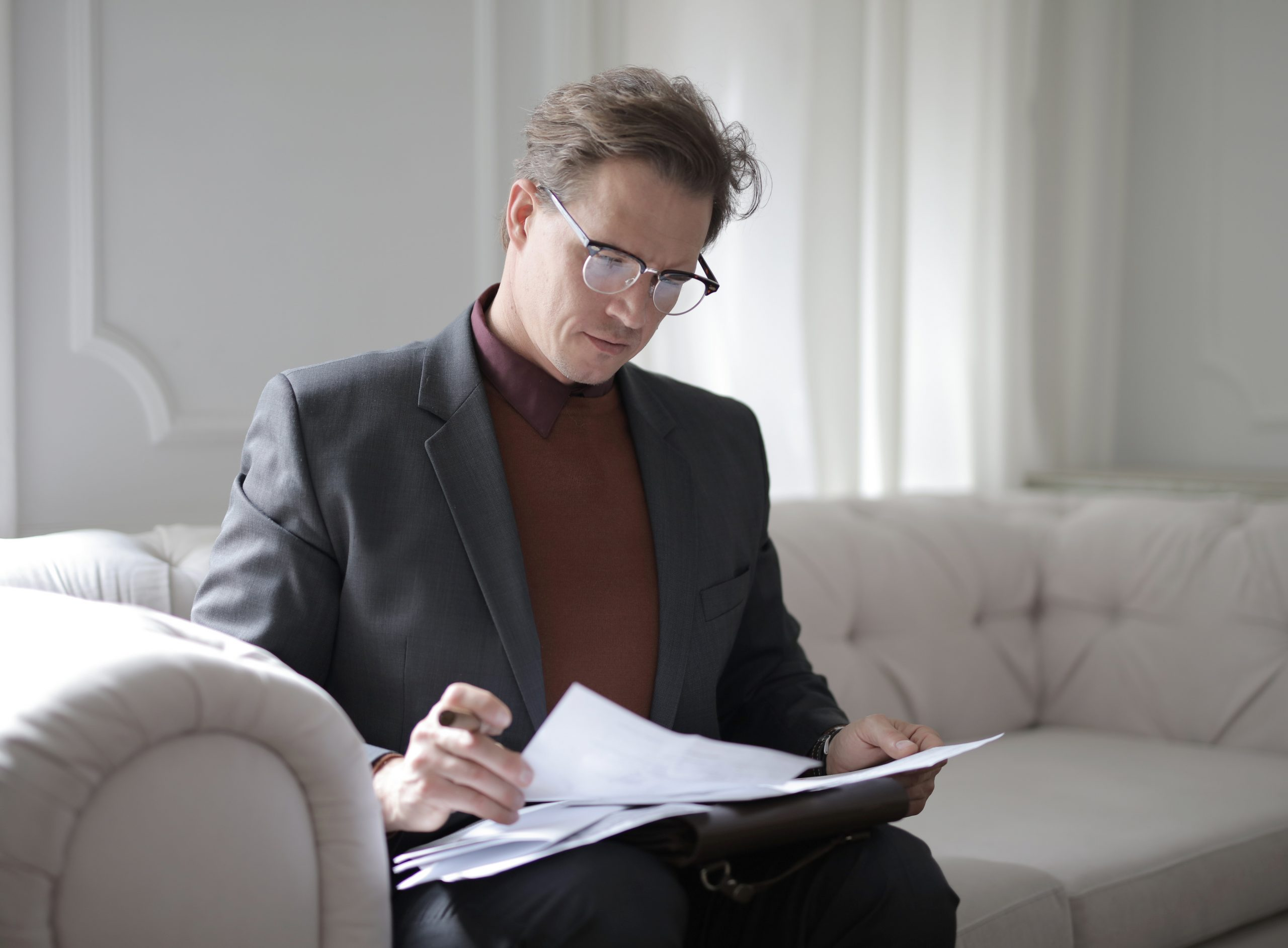 family lawyer in Campbelltown looking through some papers